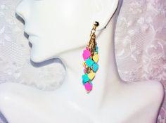 New Multi Colored Dangling Hearts Gold by NaturesUniqueBotique