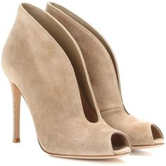 Gianvito Rossi Vamp Suede Peep-Toe Ankle Boots ($840) ❤ liked on Polyvore featuring shoes, boots, ankle booties, brown, brown ankle boots, brown suede booties, brown ankle booties, brown booties and suede booties