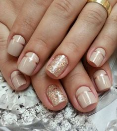 Nude and metallic gold nail art design. These two combinations of colors always go perfect with each other. Bring in gold glitter to make things even more interesting