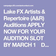 Lake FX Artists & Repertoire (A&R) Auditions  APPLY NOW FOR YOUR AUDITION SLOT BY MARCH 1  DCASE is excited to invite Chicagoland musicians and bands to apply to perform live for a panel of Artists & Repertoire (A&R) executives from major labels at the Lake FX CreativeCon happening on April 21 &