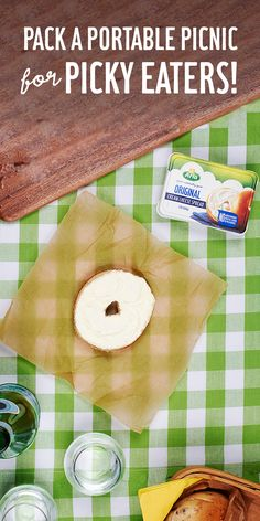 Need a picnic snack for picky eaters? A bagel with is packable, portable, totally yummable and with only four simple ingredients, it's a snack you can feel good about. Picnic Snacks, Healthy Snacks, Healthy Eating, Tailgate Food, Picky Eaters, Food For Thought, Kids Meals, Breakfast Recipes, Food And Drink