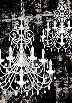 Chandelier Art black & white by SOLartDesigns