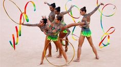 Russia competes during the Rythmic Gymnastics Group All-Around qualifier #Olympics Olympics