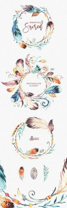 This set of high quality hand painted Native Feathers Clipart in High Resolution. Included wreaths, amulet, feather and branch. Perfect graphic for Watercolor Clipart, Wreath Watercolor, Watercolor Paintings, Tattoo Watercolor, Watercolor Design, Watercolor Quote, Watercolor Water, Tribal Feather, Feather Art