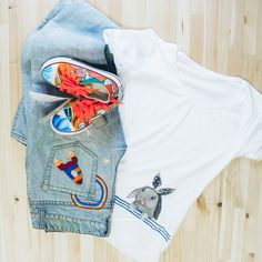 t-shirt with hand embroidery and hand painted; hand embroidery jean and  hand-painted baby sneakers