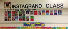 Instagram Themed Bulletin Board - InstaGrand Prairie ha! Library book pics with hashtag reviews? Teachers reading their faves? (Pictures only)