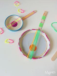 Music Instruments Diy Kids Muziek 58 Ideas For 2019 Music Instruments Diy, Instrument Craft, Homemade Instruments, Banjo, Guitar, Diy For Kids, Crafts For Kids, Music Themed Parties, Mini
