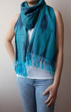 Your place to buy and sell all things handmade Cotton Scarf, Ikat, Take That, My Style, Pattern, Stuff To Buy, Blue, Etsy, Shopping