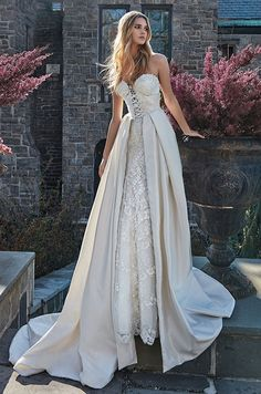 Strapless corset wedding dress with a removable over-skirt. Galia Lahav Le Secret Royal Couture Collection