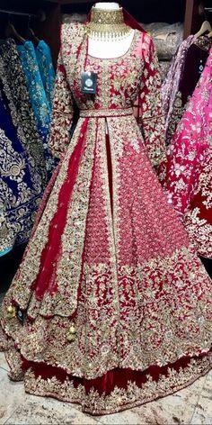 Maroon Bridal Lacha - Maroon velvet skirt and raw silk jacket with gold crystals , zardosi and sequin embroidery Lacha Fabric – Velvet , Raw silk Jacket – Chest , Length 60 Skirt – waist , length Source by - Asian Bridal Dresses, Asian Wedding Dress, Pakistani Wedding Outfits, Indian Gowns Dresses, Indian Bridal Outfits, Pakistani Wedding Dresses, Pakistani Gowns, Pakistani Bridal Couture, Designer Bridal Lehenga