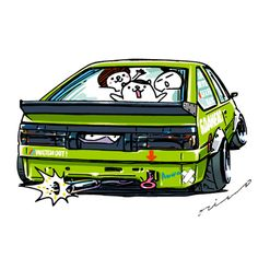 """crazy car art"" jdm japanese old school ""AE86"" original characters ""mame mame rock"" / © ozizo Official web shop ""STAY CRAZY (in Society6)"" Official web shop ""ozizo(in Redbubble)"" ""Crazy Car Art"" Line stickers ""Crazy car Art"" Telegram stickers"