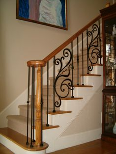 decoration: Iron Stair Balusters Remodel Installation In Wrought Iron Staircase, Wrought Iron Stair Railing, Stair Railing Design, Iron Balusters, Staircase Railings, Banisters, Banister Remodel, Wooden Stairs, Interior Stairs