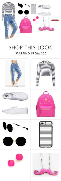 """""""Black, Pink & White Street Style"""" by melly1616 on Polyvore featuring Topshop, Vans, MCM, Miu Miu, Casetify and Kate Spade"""