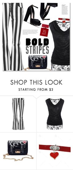 """""""Graphic Striped Pants"""" by fshionme ❤ liked on Polyvore featuring Marques'Almeida, Bella Freud, Anja, Summer, casual, stripedpants and RetroSunglasses"""