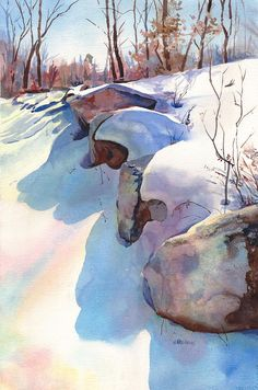 Image result for winter creek watercolour