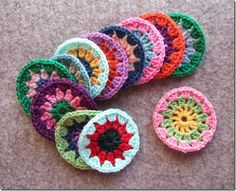 Assembly line method used to make a lot of circles for use in other project pieces such as a heart or granny square.
