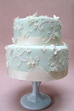 Baby Blue and White Cake