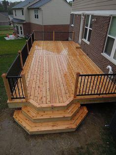 Small Backyard Decks, Backyard Patio Designs, Decks And Porches, Deck Makeover, Backyard Makeover, Wood Deck Designs, Wood Decks, Deck Steps, House Deck