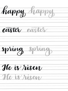 Spring Hand Lettering Practice Page - Amy Latta Creations Hand Lettering Tutorial, Hand Lettering Practice, Hand Lettering Alphabet, Calligraphy Practice, Doodle Lettering, Creative Lettering, Brush Lettering, Chalk Typography, Calligraphy Worksheet
