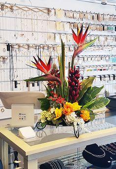 Flower Arrangement on Store Counter