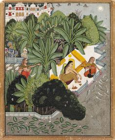 Krishna Visiting Radha   India, Rajasthan, Bundi, circa 1750   Depicting a courtyard scene with Radha on a terrace resting upon ochre cushions and her attendants one feeding the birds and one feeding a school of fish by a waterbank filled with ducks and lotuses, the terrace separated from the palace grounds by a phalanx of leafing trees bearing flowers and peacocks, Krishna illustrated at far left with a sentry  Image: 10¼ x 8 1/8 in. (26 x 21.5 cm.)