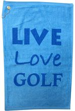 """New Bigger Size! The Live, Love, Golf towel is 16"""" x 25"""", 100% cotton terry velour. This light blue and dark blue towel features a corner grommet & hook. It is the perfect size to hang on your golf bag, or bring up with you to the green. It also makes a great gift for your favorite golfer."""