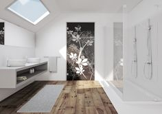 Glass sliding pocket doors - a perfect to let light into your ensuite or to let light from your en-suite back into your bedroom. #glassdoors #bathrooms #ensuites #loftconversions