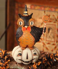 New 2013 Perched Owl on Pumpkin designed by Johanna Parker at TheHolidayBarn.com