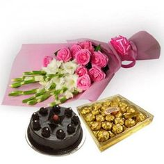 Birthday Flowers, cake and Chocolate In Gurgaon @way2flowers Place your order here http://www.way2flowers.com/birthday/flowers-combo
