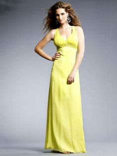 V-neck Column Yellow Long Prom Dress