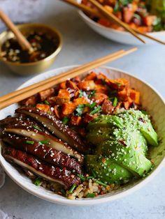 Umami Portobello Bowls with Miso Glazed Sweet Potatoes | homegrownprovisions.com #portobello #umami #recipes #vegan #plantbased