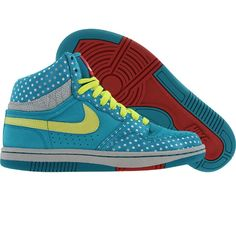 Nike Womens Court Force High (glass blue / voltage yellow / metallic platinum) 316117-371 - $79.99