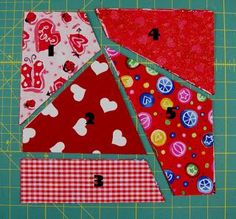 """Ms. Elaineous Teaches Sewing: Crazy Quilt Block. How to cut a stack of 10"""" blocks to create crazy quilt blocks. Great tutorial."""
