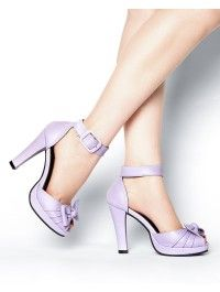 Pinup Girl Clothing- Knotted Ankle Strap Heel in Lilac Pin Up Shoes, Fancy Shoes, Crazy Shoes, Me Too Shoes, Ankle Strap Heels, Peep Toe Heels, Ankle Straps, Vintage Inspired Shoes, Pinup Girl Clothing