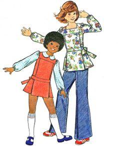 1970s Girls Pinafore Dress Blouse Tie Back Smock by paneenjerez, $6.00