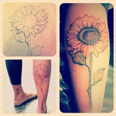 My new sunflower tattoo!!  Designed & Inked by Carolyn at Tattoo Factory in Chicago. 4 hours of pain, worth it.