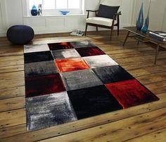 Modern Orange Squares Turkish Rug Size: 160 x