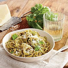 Broccoli and Pecorino Pesto Pasta | Cooking Light #myplate #wholegrain #veggies #dairy