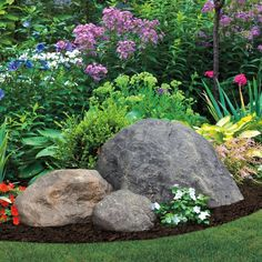 This realistic looking rock can easily be used as part of your garden or flower bed decor. Its made of fiberlite, a durable, all weather fiberglass composite, and coated with exterior-grade acrylics for long lasting beauty. Landscaping With Boulders, Home Landscaping, Front Yard Landscaping, Landscaping With Large Rocks, Natural Landscaping, Decorative Rock Landscaping, Rock Garden Design, Rock Decor, Plantation