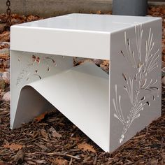 Items similar to pine - laser cut side table - powder coated steel on Etsy Steel Furniture, Find Furniture, Furniture Design, Plasma Cnc, Plasma Cutting, Contemporary Shelving, 3d Cnc, Laser Cut Metal, Metal Screen