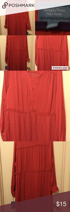 SimplyVera Red Dress Red, Polyester, long sleeve, drawstring dress. Sleeves may be rolled and buttoned up on each arm. Knee length Simply Vera Vera Wang Dresses Long Sleeve
