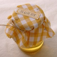 Jar of honey with yellow gingham cloth topper stamped with bees My Favorite Color, My Favorite Things, Jessica Day, The Wombats, Pushing Daisies, Merian, Go For It, Save The Bees, Mellow Yellow