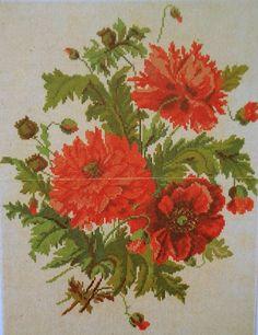 Beautiful Poppy Bouquet Berlin Woolwork Pattern ..