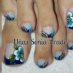 60 Pretty Toe Nail Designs For Autumn - - Pretty Toe Nails, Cute Toe Nails, Fancy Nails, Pedicure Nail Art, Toe Nail Art, Summer Toe Nails, Feet Nails, Toe Nail Designs, Flower Nails