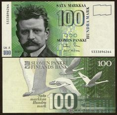 The beautiful 100 markka before euro, with image of composer Jean Sibelius and swans, Finland's national animal symbol | 100 markkaa, 1986