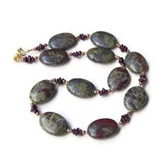 Dark Burgundy and Forest Green Stone Necklace by ALFAdesigns