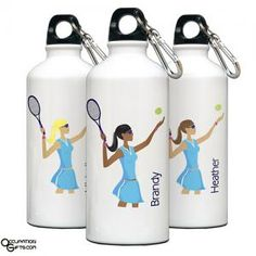 Our Tennis water bottle makes a great gift for the tennis player on your gift list. This 20 ounce aluminum bottle features a leak proof cap and carabiner. Goodies, Aluminum Water Bottles, Tennis Gifts, Personalised Gifts For Him, Engraved Gifts, Play Tennis, Tennis Shop, Tennis Party, Personalized Water Bottles
