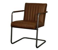 Lexie KD PU Chair Gunmetal Frame, Vintage Brown