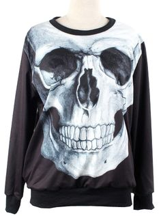 Black Long Sleeve Skull Print Loose Sweatshirt US$31.97