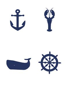 Digital Art - Nautical Images - Anchor, Lobster, Whale, Ship Wheel - to create your own Beach Ocean wedding stationery items!